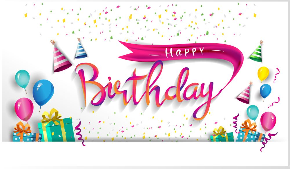 new colourful happy birthday