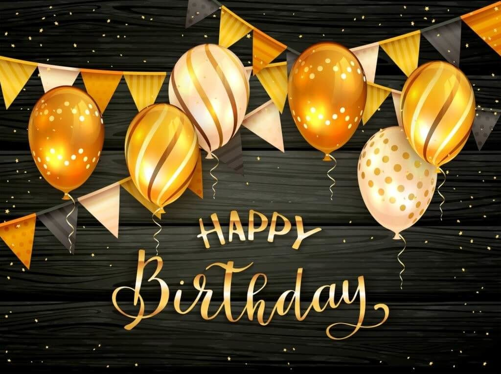 free birthday image with golden balloons