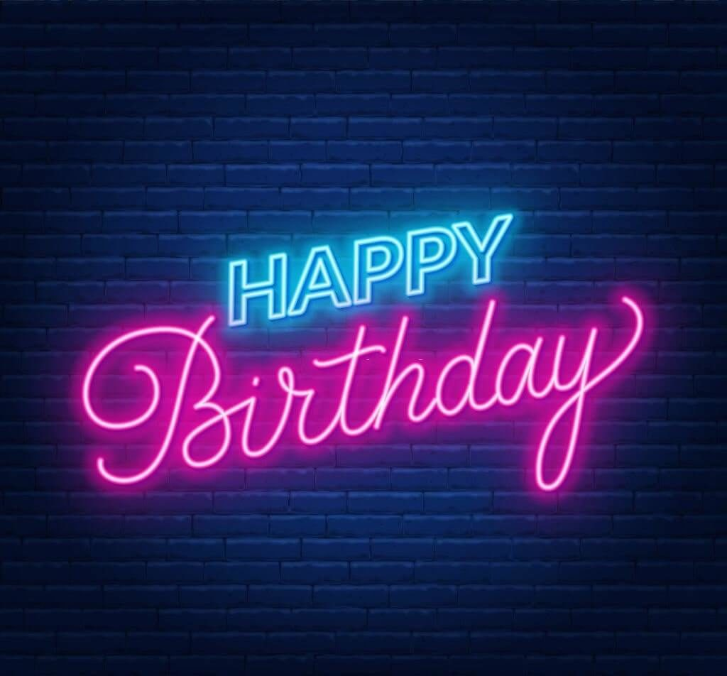free neon effect happy birthday image