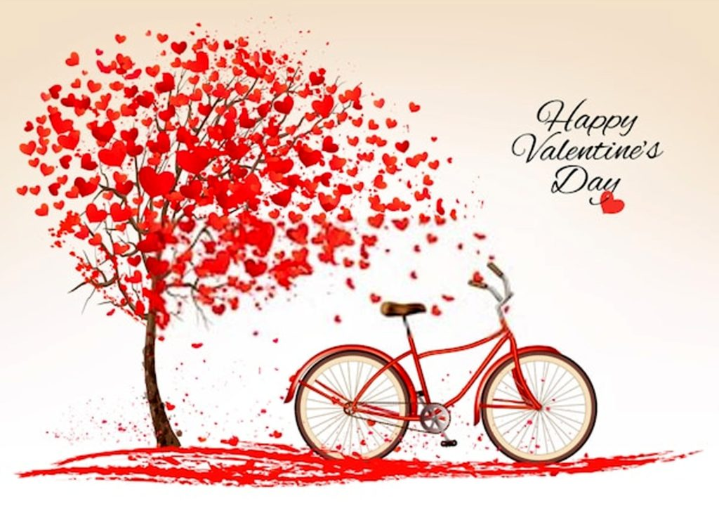Valentines day background with a bike and a tree