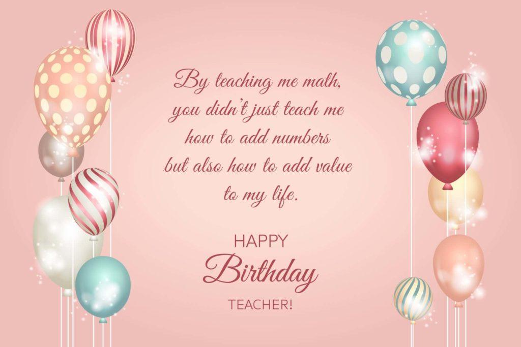 happy birthday teacher wishes card